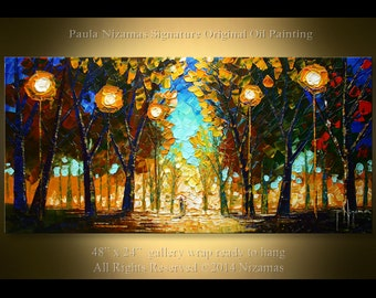 Acrylic and Oil large Park Lights Painting on canvas PALETTE KNIFE original extra heavy texture art ready to hang By Paula Nizamas