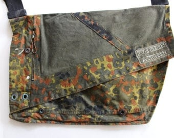 Vintage Military Bag - Camoflage Camo Army Satchel -Messenger bag  Ive Seen Action Patch - Upcycled Shirt- Punk- Mens
