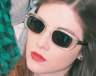 Vintage Clear Plastic Sunglasses - See-Through Rectangular Sunnies - Nineties Future Love