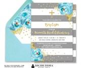 BOY BAPTISM INVITATION Boy Christening Invitation Party First Birthday Invite Blue Peony Gray Stripe Gold Glitter Printable or DiY- Krissy