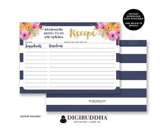 RECIPE CARDS BRIDAL Shower Recipe Cards Printed Matching Bridal Shower Recipe Cards Blank Wedding Shower Recipe Cards Set Printed - Mady