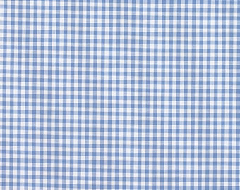Laura Ashley gingham check chambray blue. 100% cotton fabric.