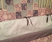 FREE SHIPPING***Crib Bedding, CUSTOM, purple, gray, aqua, and ivory fabric