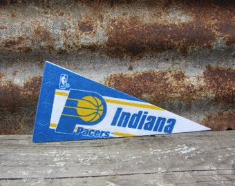 Vintage Basketball Pennant Indiana Pacers Small 9 Inch 1990s Era NBA Mini Felt Pennant Banner Flag vtg Collectible Vintage Sports