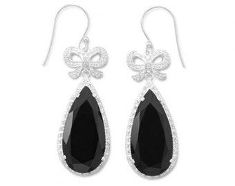 Black Onyx Sterling Silver Earrings with CZ Bows