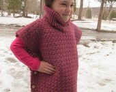 Crocheted Sweater Poncho for Girls Size 2, 4, 6