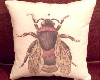 Vintage Bee pillow 12.5 in square