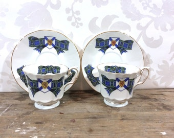 Nova Scotia Tartan souvenir teacup and saucer, 2 sets, Provincial coat of arms, Elizabethan, coffee cup, teacup