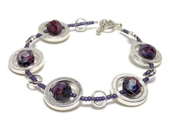 Plus Size Purple Silver Circles Strand Bracelet - Women's Jewelry