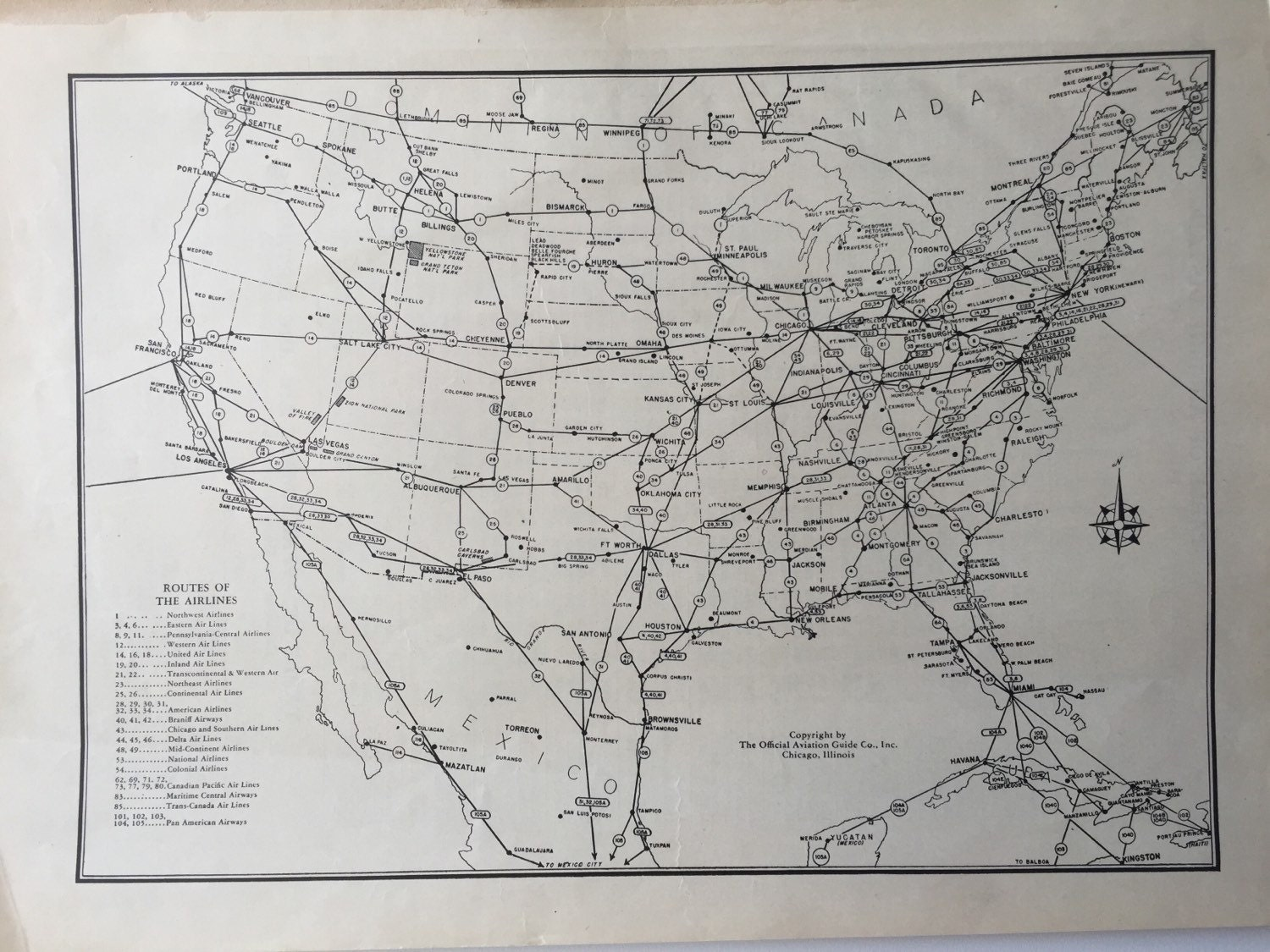 Vintage Map Pages United States Mileage Chart On One - Us mileage map