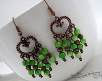 Green chandelier earrings boho dangles copper jewelry shell earrings bohemian jewelry gypsy earrings green hippie long earrings gift for her