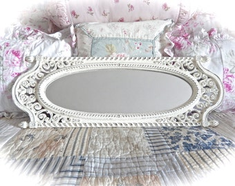 Shabby Off White Cream Long Floral Oval Face Wall Mirror Cottage Chic Ornate Scrolled Baroque Fancy READY TO SHIP