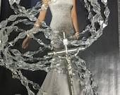 "Swarovski Crystal and glass Wedding Lasso, 34"" Glass Lazo for Wedding / clear white glass bead Lazo/ Lazo de vidrio  para boda / Bridal Lazo"