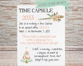Boho Teepee Time Capsule Sign - Digital File - Customizable WATERCOLOR PAPER BACKGROUND