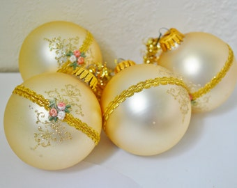 4 Krebs Gold Vintage Glass Christmas Ornaments  Made in USA 1980's