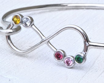 Mothers Day Gift, Infinity Bangle Bracelet, 5 Birthstone Bracelet, Infinity Jewelry, Five Stone Mother's Jewelry, Gift For Mom, Mothers