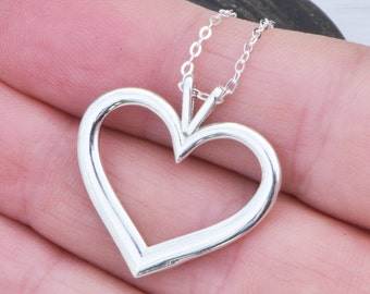 Silver Heart Pendant - Sterling Silver Heart - Heart Necklace - Silver Heart Jewelry -
