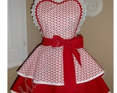 Valentine's Day Glitter Hearts Woman's Retro Apron, Featuring Lace Trimmed Heart Shaped Bib