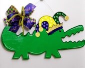 Mardi Gras Door Hanger, Alligator Door Hanger, Whimsical Alligator, Mardi Gras Alligator, Carnival Door Hanger, Mardi Gras, Fat Tuesday