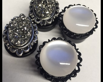 2 PAIRS Silver druzy Crystal Ball Girly Ear Guages Plugs
