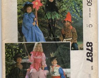Prince Flower Princess Elf Gnome Size Medium Childrens Costume Sewing Pattern 1983 McCalls 8787