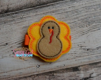 Holiday Felt Hair Clips - Girls Hair Accessories -Embroidered Boutique Felt Thanksgiving Turkey Hair Clippie-No Slip Grip
