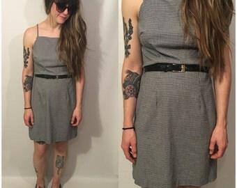 Vintage 90s Black and White Gingham Print Mini Dress Sleeveless Size Small