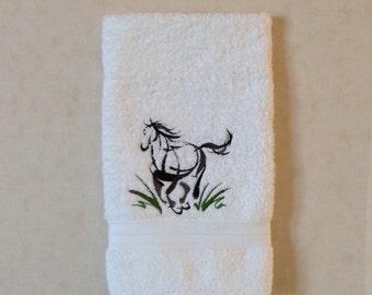 Sumi-e-horse machine embroidery on white hand towel
