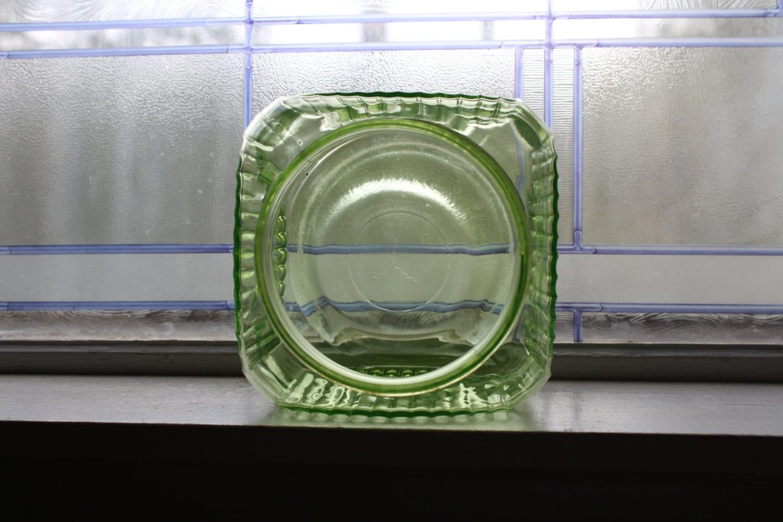 large green glass jar kitchen canister vintage 1930s cookie jar