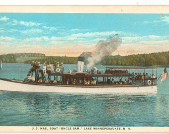 Linen Postcard, Lake Winnipesaukee, New Hampshire, U.S. Mailboat Uncle Sam