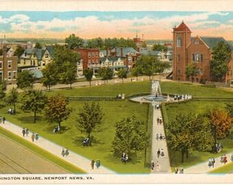 Linen Postcard, Newport News, Virginia, Washington Square, ca 1930