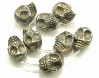 30x22mm Iron Pyrite Gemstone Skull Head 30x22mm Loose Beads 2 Beads (90189241-353)