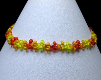 Flame Colored Seed Bead Bracelet (B172)