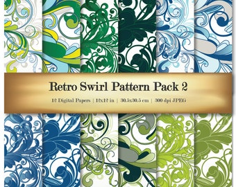 Retro Swirl Digital Scrapbook Paper Variety Pack Green Blue Yellow Patterns - Commercial Use OK