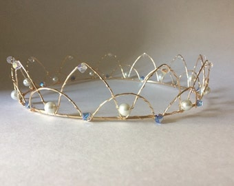 Blue princess crown and scepter set
