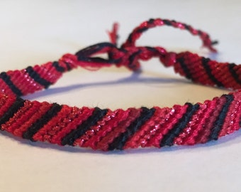 Black, Red Ombre, and Red Sparkle - Striped Friendship Bracelet