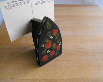 Vintage note holder tole painted