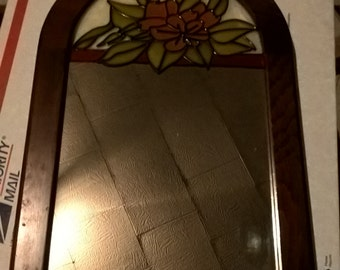 Vintage 13 1/2'' L x 9'' Wide Floral Arched  Wood Frame Stained Glass Mirror