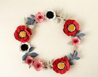 Paper Flower Wreath, Modern Floral Wreath, Modern Wreath, Poppy Wreath