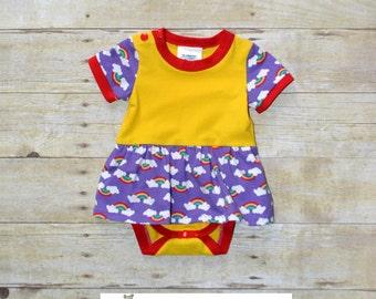CLEARANCE - 3mo  Bodysuit with Skirt, Rainbow Bodysuit, NB Bodysuit,  Infant Rainbow Body Suit, Made by The Corduroy Hippo