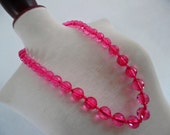 NEON LUCITE . Very Rare Pink Color Clear Transparent Perspex Faceted Chunky Beads Gorgeous Necklace . 80s