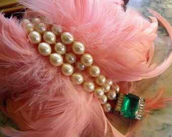 Beautiful Juliana Pearl With Emerald and Diamond Look Bracelet.  Old Hollywood Glamour.