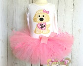 Valentine's Day Puppy Tutu Outfit- Pink Tutu- Pink Puppy with heart- Be Mine- Custom embroidery