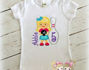Girls Bowling Birthday Shirt- Bowling Pin- Customizable looks- Custom embroidery
