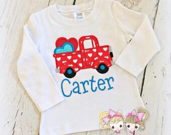 Boys Valentine's Day shirt - Valentine's Day pickup truck - Valentine's Day truck - V-day truck shirt - personalized Valentine's day shirt