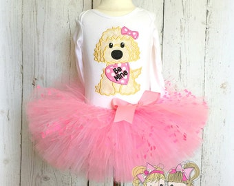 Valentine's Day outfit for girls - pink puppy tutu outfit - Be Mine puppy outfit - puppy with conversation heart- Valentine's day puppy tutu