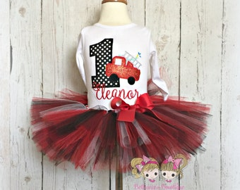 Fire truck birthday outfit - fire engine tutu outfit - 1st birthday fire truck outfit for girls - red fire engine tutu - personalized outfit