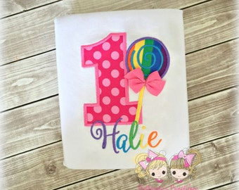 Lollipop birthday shirt - rainbow lollipop birthday shirt - 1st birthday shirt - custom embroidered birthday shirt - personalized shirt