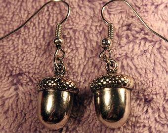 Silver Acorn Nut Earrings