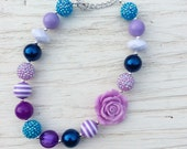 little girl chunky bead necklace purple turquoise lavender bubble gum chunky baby necklace big girl necklace big bead necklace
